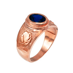 Rose Gold Virgo Zodiac Sign September Birthstone Blue CZ Ring
