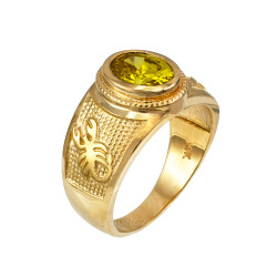 Yellow Gold Scorpio Zodiac Sign November Birthstone Yellow CZ Ring