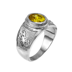 White Gold Scorpio Zodiac Sign November Birthstone Yellow CZ Ring