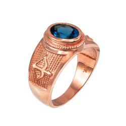 Rose Gold Sagittarius Zodiac Sign December Birthstone Blue CZ Ring
