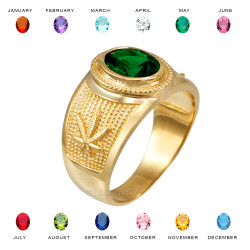 Yellow Gold Marijuana Weed Leaf CZ Birthstone Ring