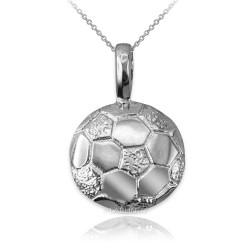 White Gold Soccer Ball Pendant Necklace