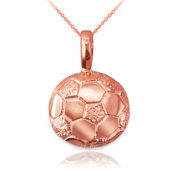 Rose Gold Soccer Ball Pendant Necklace