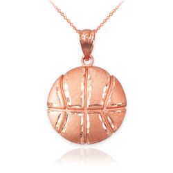Rose Gold Basketball Satin DC  Pendant Necklace