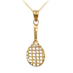 Yellow Gold Tennis Racket DC Pendant Necklace