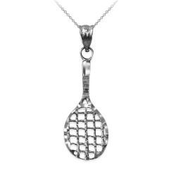 White Gold Tennis Racket DC Pendant Necklace
