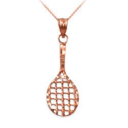Rose Gold Tennis Racket DC Pendant Necklace