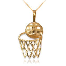 Yellow Gold Basketball Hoop DC  Pendant Necklace