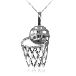 White Gold Basketball Hoop DC  Pendant Necklace