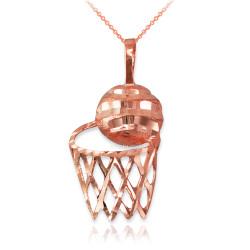 Rose Gold Basketball Hoop DC  Pendant Necklace