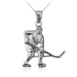White Gold Ice Hockey Player Pendant Necklace