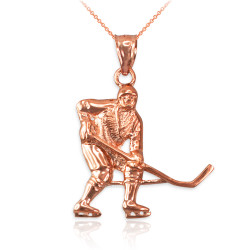 Rose Gold Ice Hockey Player Pendant Necklace