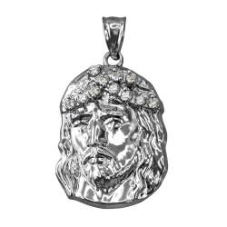 White Gold Jesus Face CZ Pendant (S/L)