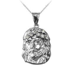 White Gold Jesus Face CZ Charm Necklace