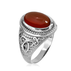White Gold Celtic Trinity Red Onyx Gemstone Ring