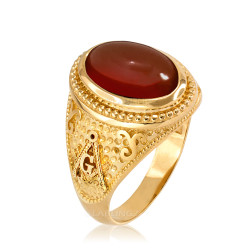 Yellow Gold Masonic Red Onyx Statement Ring