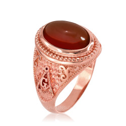 Rose Gold Masonic Red Onyx Statement Ring