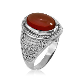 White Gold Marijuana Weed Red Onyx Statement Ring