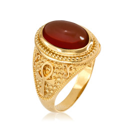 Yellow Gold Egyptian Ankh Cross Red Onyx Statement Ring