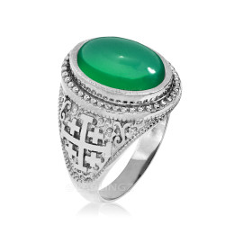 White Gold Jerusalem Cross Green Onyx Gemstone Statement Ring