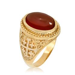 Yellow Gold Jerusalem Cross Red Onyx Gemstone Statement Ring