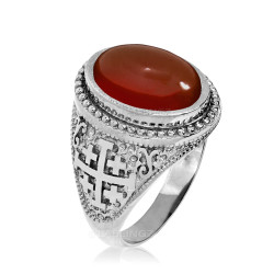 White Gold Jerusalem Cross Red Onyx Gemstone Statement Ring