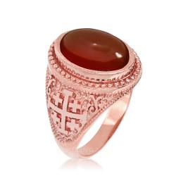 Rose Gold Jerusalem Cross Red Onyx Gemstone Statement Ring