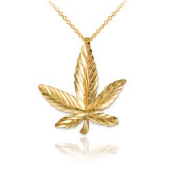 Yellow Gold Marijuana Leaf Cannabis DC Charm Necklace