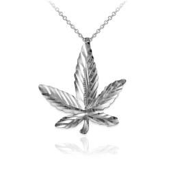 White Gold Marijuana Leaf Cannabis DC Charm Necklace