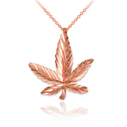 Rose Gold Marijuana Leaf Cannabis DC Charm Necklace