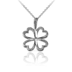 White Gold Tiny Irish Shamrock Clover DC Charm Necklace
