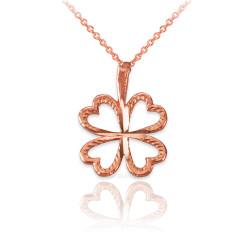 Rose Gold Tiny Irish Shamrock Clover DC Charm Necklace