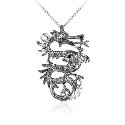 Sterling Silver Textured  Dragon DC Charm Necklace