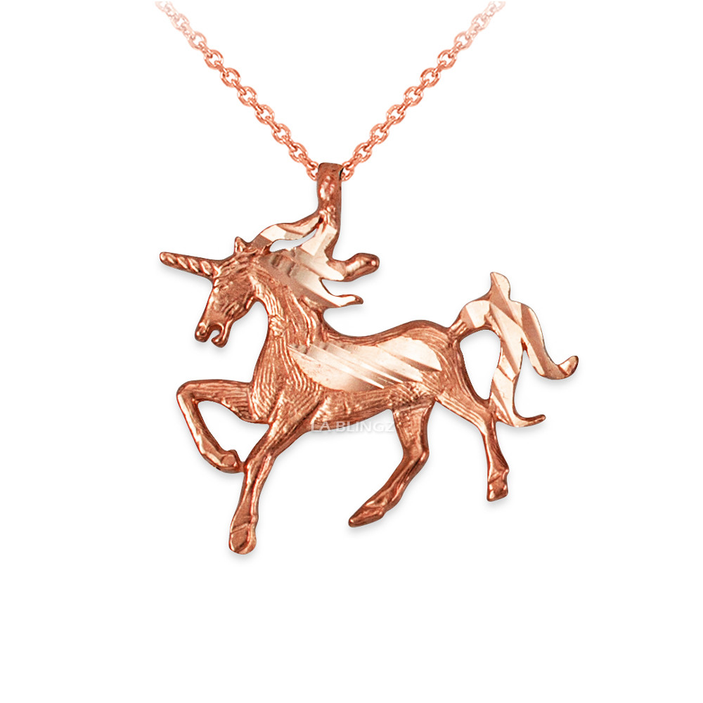 Rose Gold Galloping Unicorn Dc Charm Necklace