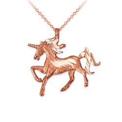 Rose Gold Unicorn DC Charm Necklace