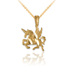 Yellow Gold Tiny Flying Unicorn DC Charm Necklace