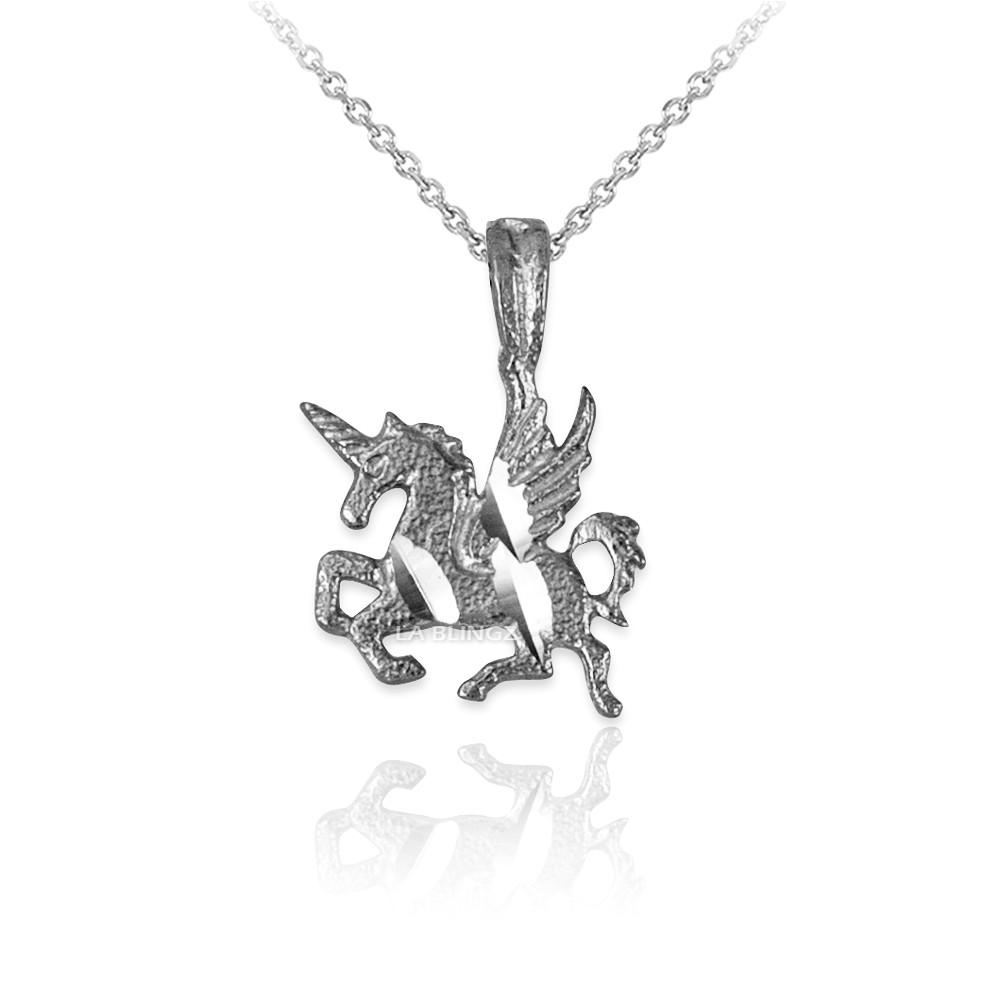 LA BLINGZ 10K White Gold Tiger Head DC Charm Necklace