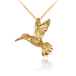 Yellow Gold Flying Hummingbird DC Charm Necklace