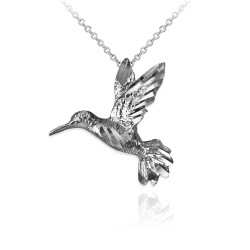 White Gold Flying Hummingbird DC Charm Necklace