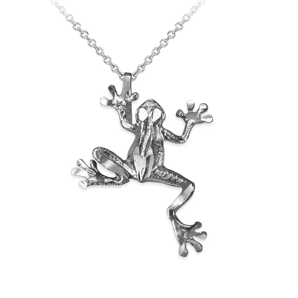 LA BLINGZ 14K White Gold Frog DC Charm Necklace
