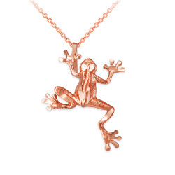 Rose Gold Frog DC Charm Necklace