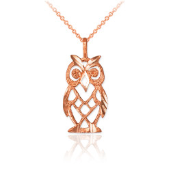 Rose Gold Owl Filigree DC Charm Necklace