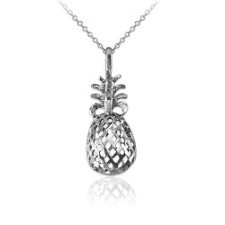 White Gold Pineapple Filigree DC Charm Necklace