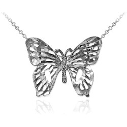 White Gold Butterfly Filigree DC Charm Necklace