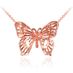 Rose Gold Butterfly Filigree DC Charm Necklace