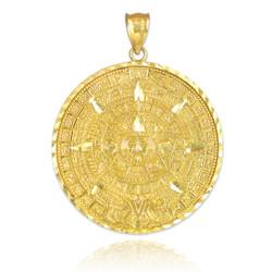 Gold Aztec Mayan Sun Calendar Pendant (S/M/L)