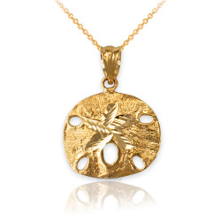 Yellow Gold Sand Dollar DC Charm Necklace