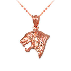 Rose Gold Tiger Head DC Charm Necklace