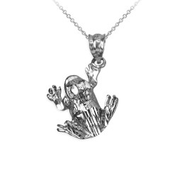Polished DC White Gold Frog Charm Necklace