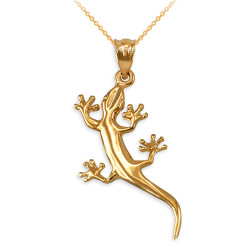 Polished Yellow Gold Salamander Lizard Charm Necklace